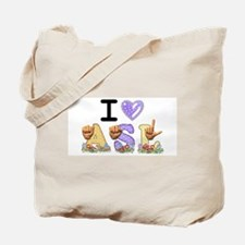 I Love ASL & Spring Flowers Tote Bag