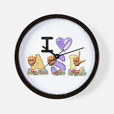 I Love ASL & Spring Flowers Wall Clock