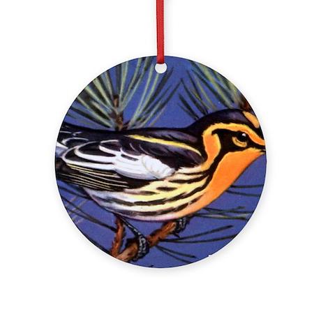 Blackburnian Warbler Bird Ornament (Round)