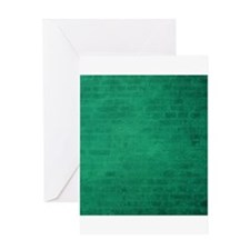 Green brick texture Greeting Cards