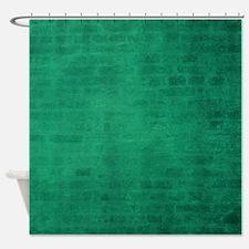 Green brick texture Shower Curtain