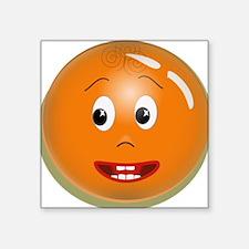 """Orange Smiley Square Sticker 3"""" x 3"""""""