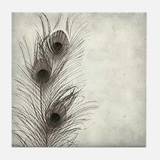 Peacock Feather Tile Coaster