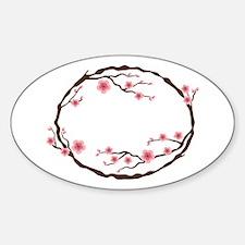Cherry Blossom Flowers Wreath Decal