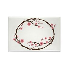 Cherry Blossom Flowers Wreath Magnets