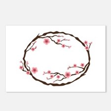 Cherry Blossom Flowers Wreath Postcards (Package o