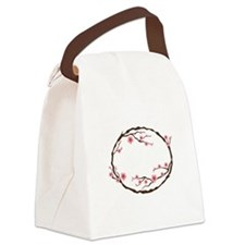 Cherry Blossom Flowers Wreath Canvas Lunch Bag