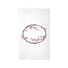 Cherry Blossom Flowers Wreath 3'x5' Area Rug