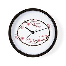 Cherry Blossom Flowers Wreath Wall Clock