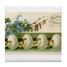 Old Russian Easter Card Tile Coaster