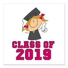 "Pink Class of 2014 Grad Square Car Magnet 3"" x 3"""