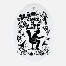 Gamer For Life (All Black) Ornament (Oval) Ornamen