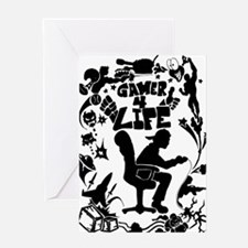 Gamer for Life (All Black) Greeting Cards