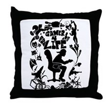 Gamer for Life (All Black) Throw Pillow
