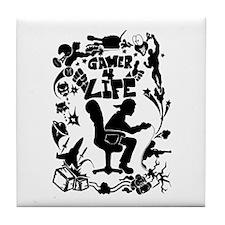 Gamer For Life (All Black) Tile Coaster