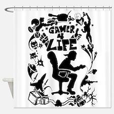 Gamer For Life (All Black) Shower Curtain