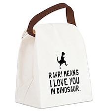 Rawr Love Dinosaur Canvas Lunch Bag