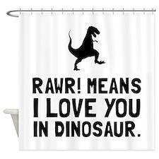 Rawr Love Dinosaur Shower Curtain