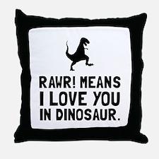 Rawr Love Dinosaur Throw Pillow