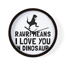 Rawr Love Dinosaur Wall Clock