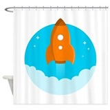 Cartoon space Shower Curtains
