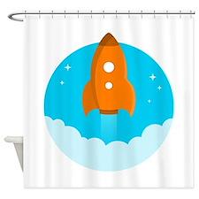 Round Rocket Shower Curtain
