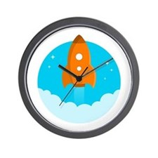 Round Rocket Wall Clock