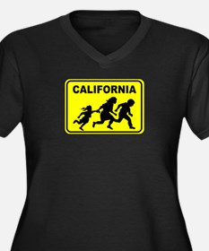 Welcome To Cali Women's Plus Size V-Neck Dark T-Sh