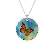 Monarch Butterfly Necklace Circle Charm Necklace C