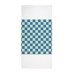 Blue Green Checks Beach Towel