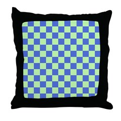 Blue Green Checks Throw Pillow