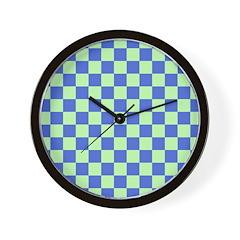 Blue Green Checks Wall Clock