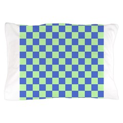 Blue Green Checks Pillow Case