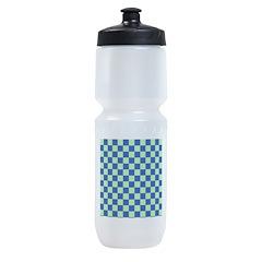 Blue Green Checks Sports Bottle