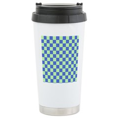 Blue Green Checks Travel Mug