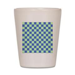 Blue Green Checks Shot Glass
