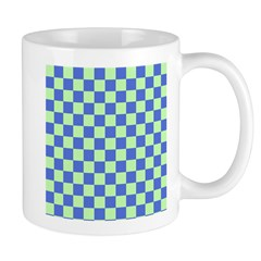 Blue Green Checks Mugs