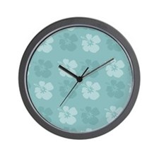 Blue Hibiscus Flowers Wall Clock