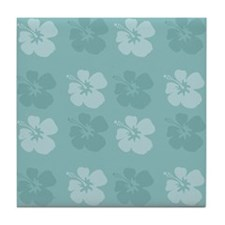 Blue Hibiscus Flowers Tile Coaster