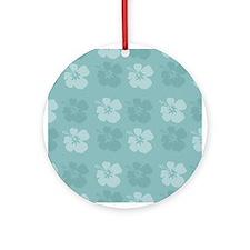 Blue Hibiscus Flowers Ornament (Round)
