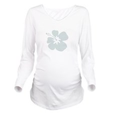 Blue Hibiscus Flower Long Sleeve Maternity T-Shirt