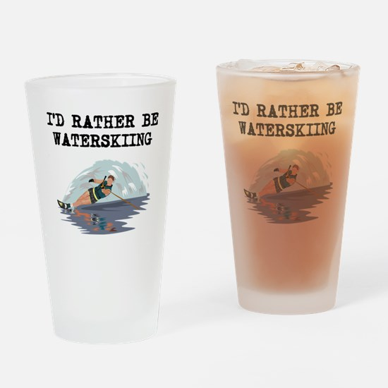 Id Rather Be Waterskiing Drinking Glass