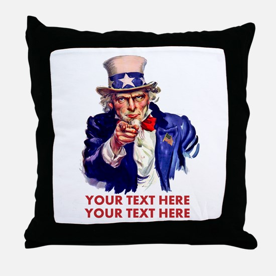 Personalize Uncle Sam Throw Pillow