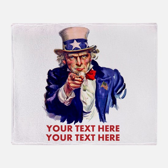 Personalize Uncle Sam Throw Blanket