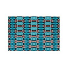 Turquoise Red Festive Pattern Rectangle Magnet