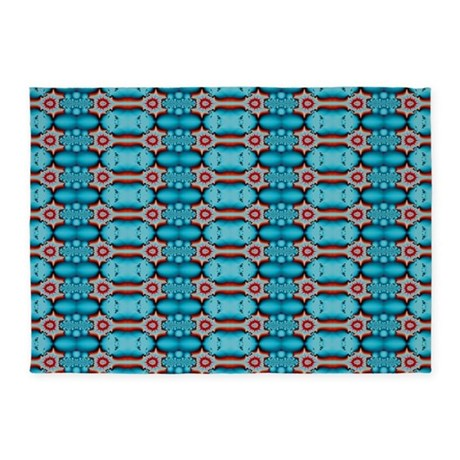 turquoise red festive pattern 5 39 x7 39 area rug by listing store 58985537. Black Bedroom Furniture Sets. Home Design Ideas