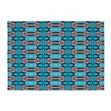 Turquoise Red Festive Pattern 5'x7'Area Rug