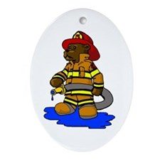 Mike the Firefighter Bear Oval Ornament