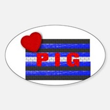 LEATHER PRIDE/PIG/BRICK Oval Decal