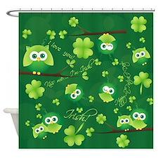 St Patricks Day Owl Shower Curtain
